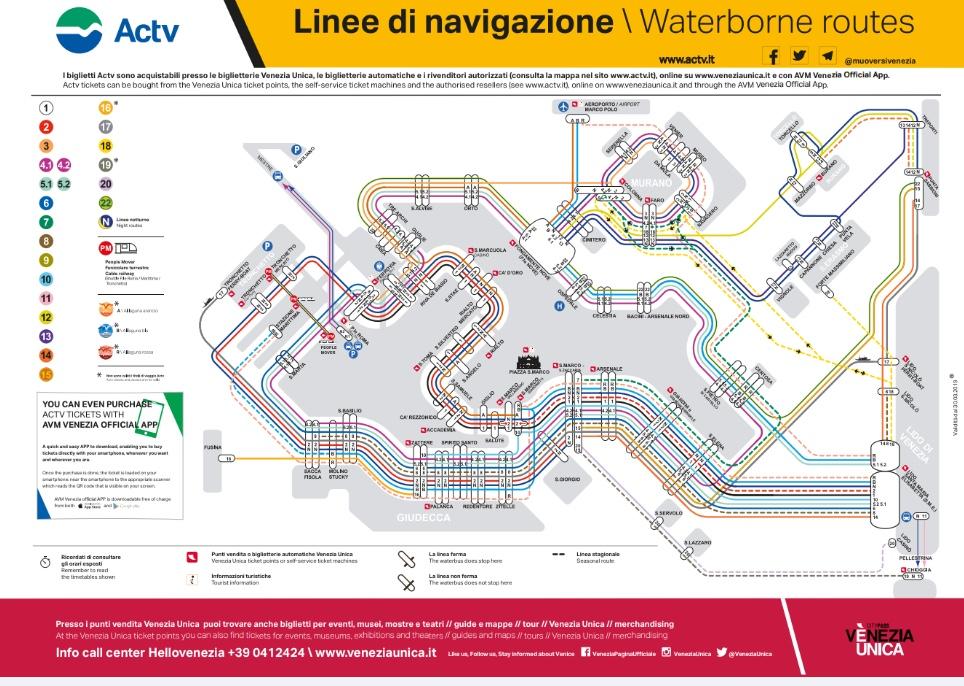 ベネチアの水上バス「ヴァポレット」の乗り方ガイド~路線図・料金・おすすめ観光ルート