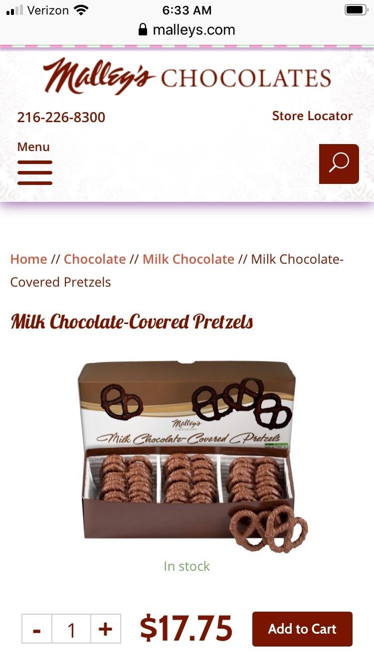 マリーズ ミルクチョコレート味プリッツェル | アテネ(オハイオ州)在住ノリコさんのおすすめスイーツ・お菓子